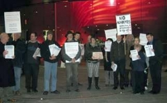 11th November: A protest against academies in Leicester at the opening of the new Curve Theatre, including members from the NUT, Green Party, Socialist Party and Leicester Education Forum