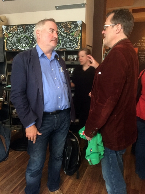Harry Whithead with children's laureate Chris Riddell