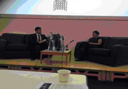 Dan Carden MP and Dr. Mary Bousted in conversation after his speech